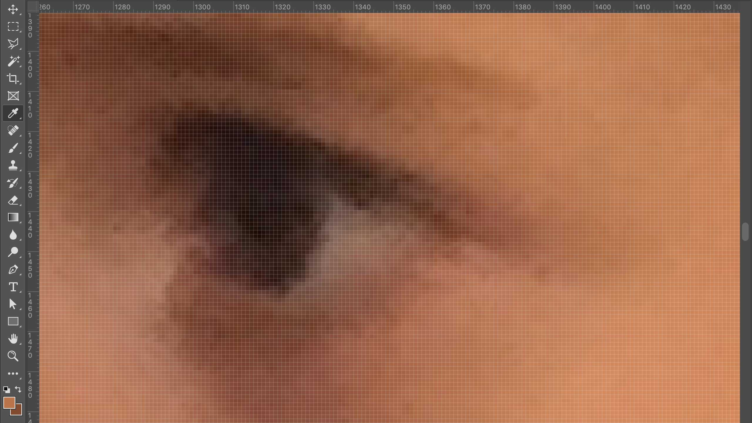Zooming into the photograph, showing a closeup of a child's eye with visible pixelation