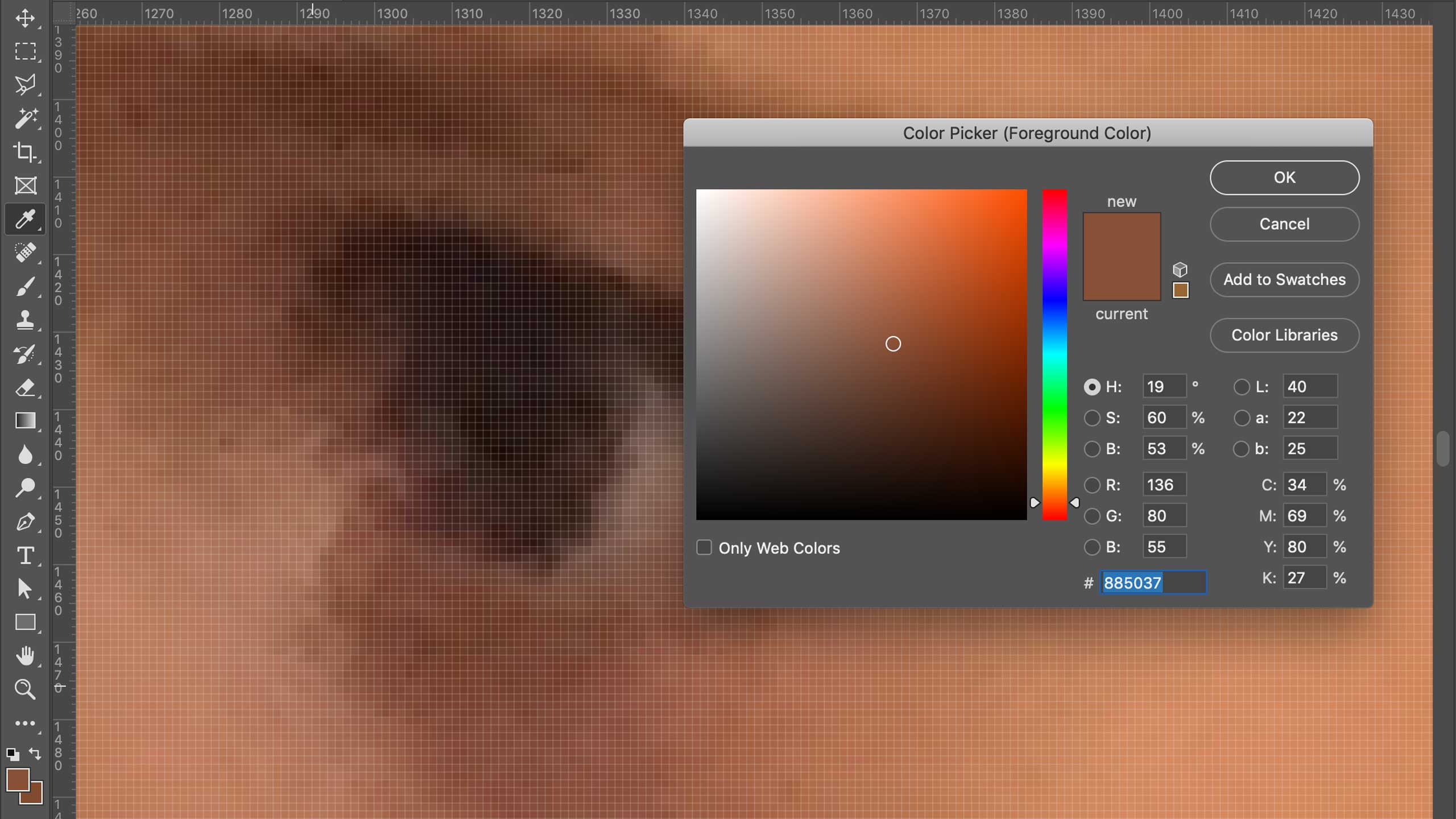 A color picker panel appears, showing numerical formulas for the selected color