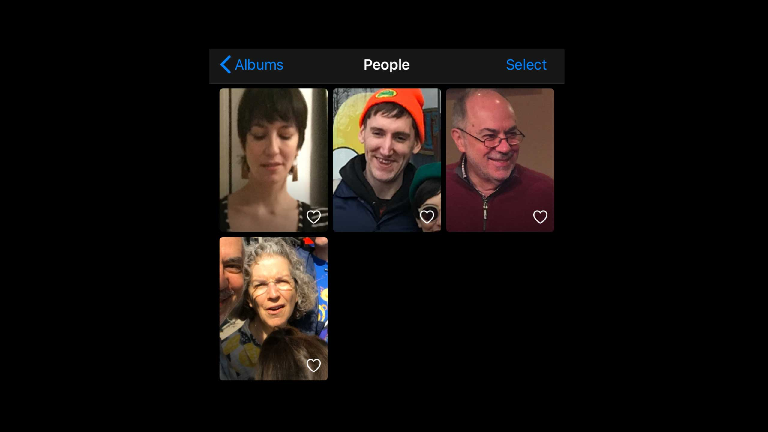 The author's iPhone's Photos app interface shows four cropped images of faces
